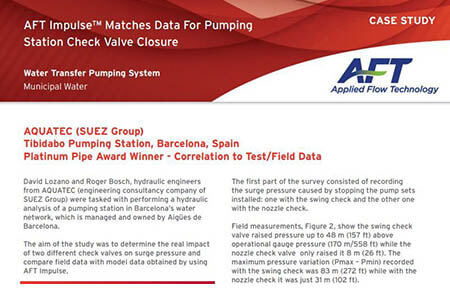 AFT Impulse™ Matches Data For Pumping Station Check Valve Closure