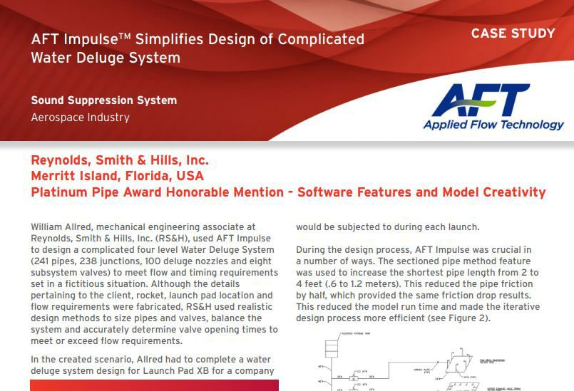 AFT Impulse™ Simplifies Design of Complicated Water Deluge System