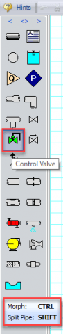 Figure 7 - Hot key ToolTips for Control Valve.
