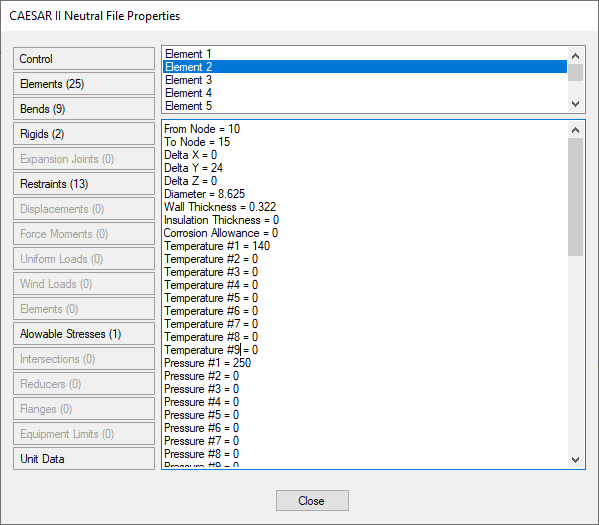 Example of a Caesar II neutral file properties window with extra information on properties exported from Caesar II.