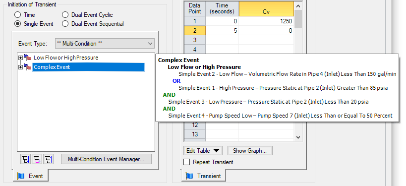Figure 4 - Selecting a Multi-Condition Event