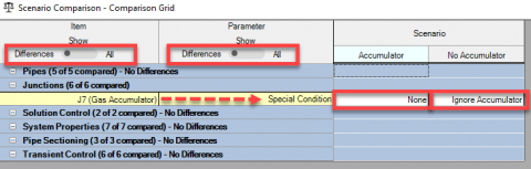 Figure 3: Using the Scenario Comparison Tool to check the differences between scenarios