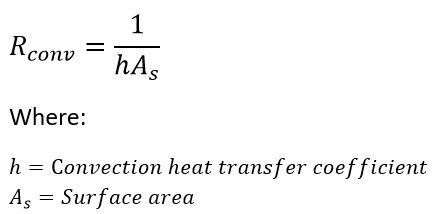 Equation 5: Thermal Resistance for Convection