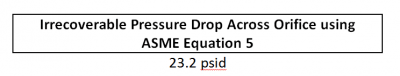 FIGURE 4: Irrecoverable Pressure Drop Across an Orifice using ASME Equation 5
