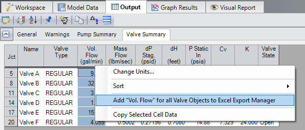 Figure 6 - Right-clicking on a header allows that column to be added directly to the Excel Export Manager